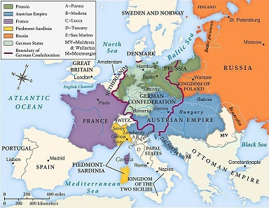 European boundaries, early 19th century.